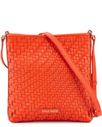 Cole Haan Lena Woven Leather Crossbody Bag Citrus Red
