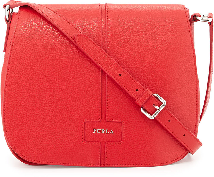 Leather Crossbody Bags Furla Manola Bag Red Fiamma