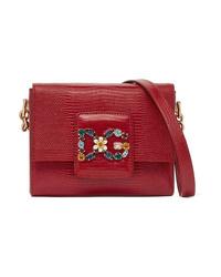 Dolce   Gabbana Millennials Embellished Lizard Effect Leather Shoulder Bag c5f18e5e4c9