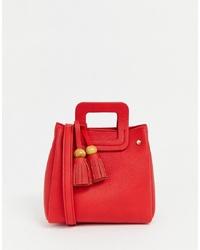 Pull&Bear Mini Cross Body Bag With Tassel In Red