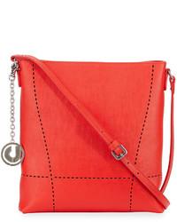 Charles Jourdan Nira Laser Cut Leather Crossbody Bag Red