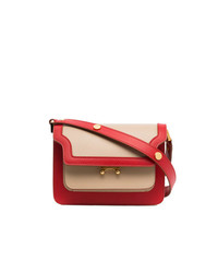 Marni Red Cream Trunk Mini Leather Shoulder Bag