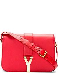 Saint Laurent Red Leather Foldover Ligne Y Medium Satchel