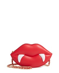 Moschino Red Lips Leather Crossbody Bag