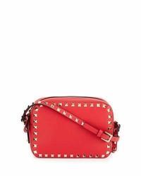 Valentino Rockstud Small Zip Top Camera Bag Red