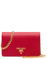 Prada Saffiano Lux Crossbody Bag Red