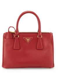 Prada Saffiano Mini Double Zip Tote Bag Red