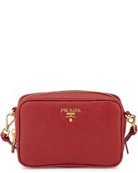 Prada Saffiano Mini Zip Crossbody Bag Red