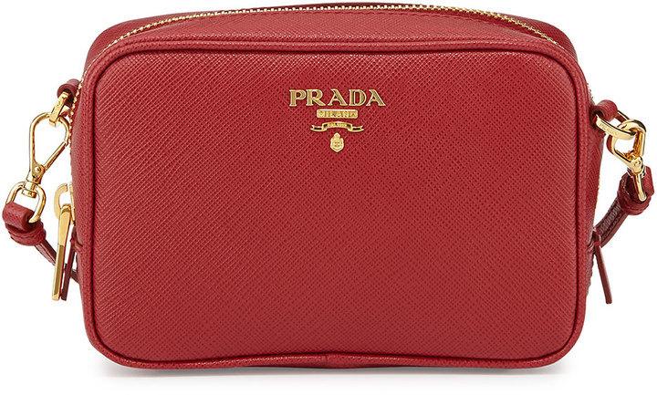98646b9e $650, Prada Saffiano Mini Zip Crossbody Bag Red