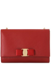 Salvatore Ferragamo Bow Saffiano Leather Shoulder Bag