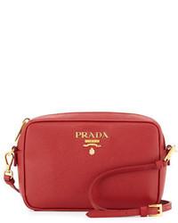Prada Small Saffiano Camera Crossbody Bag Red