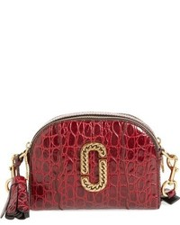 Marc Jacobs Small Shutter Leather Crossbody Bag Burgundy