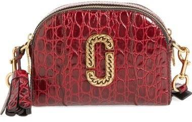 6fd1cccde032 ... Marc Jacobs Small Shutter Leather Crossbody Bag Burgundy ...