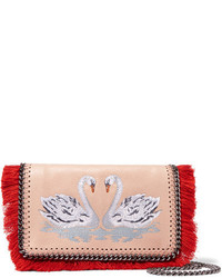 Stella McCartney The Falabella Embroidered Faux Brushed Leather Shoulder Bag Blush