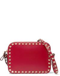 Valentino The Rockstud Leather Shoulder Bag Red