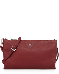Prada Vitello Daino Crossbody Bag Burgundy