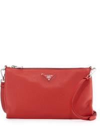 Prada Vitello Daino Zip Top Crossbody Bag Red
