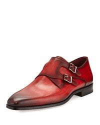 Magnanni For Neiman Marcus Burnished Leather Double Monk Shoe Red