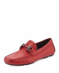Salvatore Ferragamo Leather Gancini Driver Red