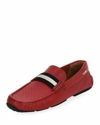 Bally Pearce Perforated Faux Leather Driver Red