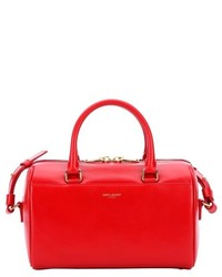 Saint Laurent Red Leather Convertible Mini Duffle Bag