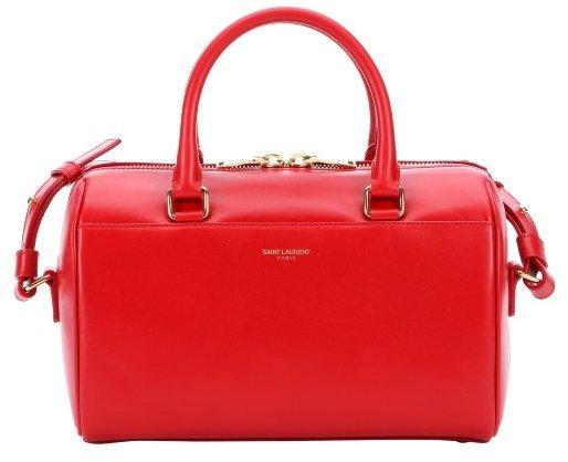 Saint Laurent Red Leather Convertible Mini Duffle Bag