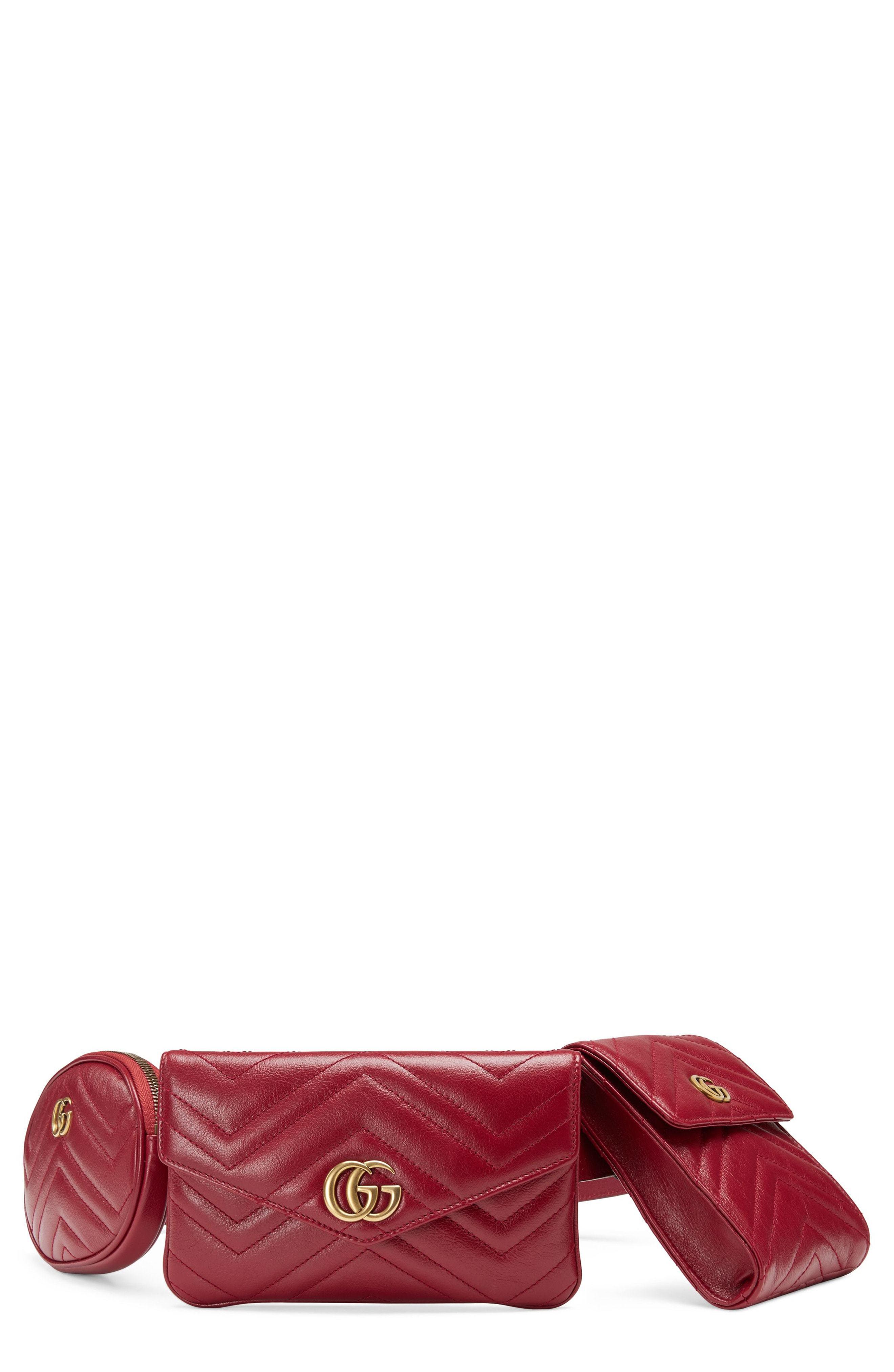 c4ab615ae77d Gucci Gg Marmont 20 Matelasse Triple Pouch Leather Belt Bag, $1,790 ...