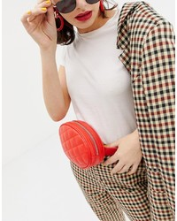 Monki Quilted Bum Bag In Red