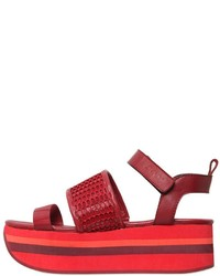 DKNY 50mm Valene Mesh Leather Wedge Sandals