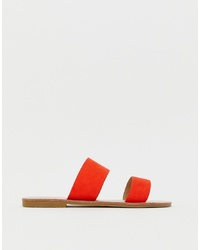 Glamorous Bright Red Flat Two Part Sandals