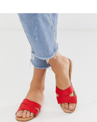 New Look Cross Slider Sandal In Bright Red