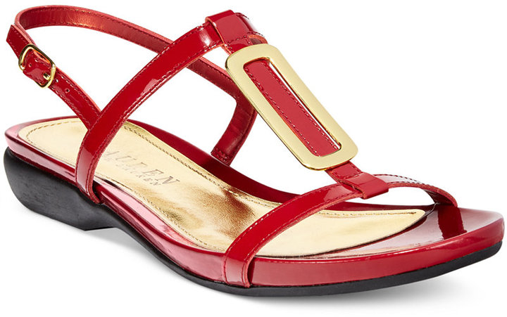 e7982c766ddf6e ... Red Leather Flat Sandals Lauren Ralph Lauren Kat Flat Sandals ...