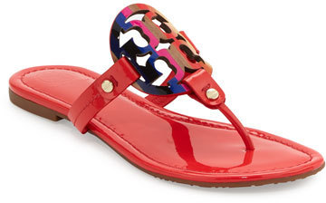 4ae4595d6e0d ... Tory Burch Miller Rainbow Logo Flat Sandal Vermillion ...