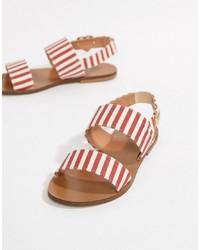 Love Moschino Stripe Flat Sandals Stripe