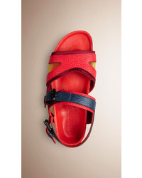Burberry The Field Sandal In Colour Block Leather And Satin