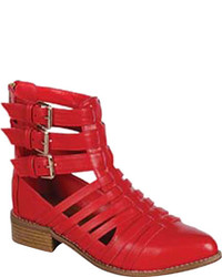 Beston Sienna 01 Red Faux Leather Cage Shoes
