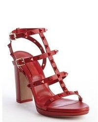 RED Valentino Valentino Red Leather Studded Rockstud T Strap Heel Sandals