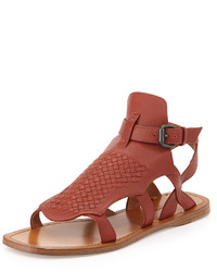 Bottega Veneta Woven Leather Gladiator Sandal Burnt Red
