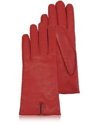 Forzieri Cashmere Lined Red Italian Leather Gloves