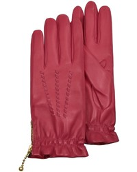 Forzieri Embroidered Red Calf Leather Gloves