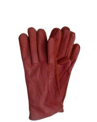 Fownes Red Leather Gloves With Stretch Knit Sides