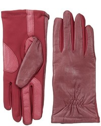 Isotoner Smartouch Stretch Leather Glove With Partial Back Gather