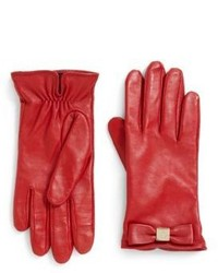 Kate Spade New York Bow Logo Leather Gloves