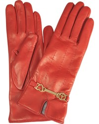 Moschino Peace Love Leather Gloves