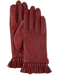 Rebecca Minkoff Leather Mini Tassel Gloves Aubergine