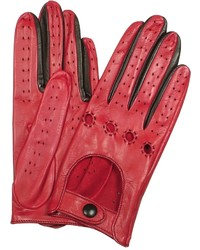 Forzieri Red Black Perforated Italian Leather Driving Gloves