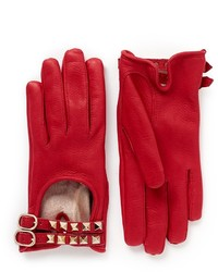 Nobrand Rockstud Double Strap Short Leather Gloves