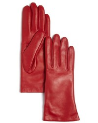 Bloomingdale's Short Cashmere Lined Leather Gloves 100%