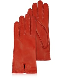 Forzieri Stitched Cashmere Lined Red Italian Leather Gloves