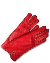 Forzieri Stitched Silk Lined Red Italian Leather Gloves